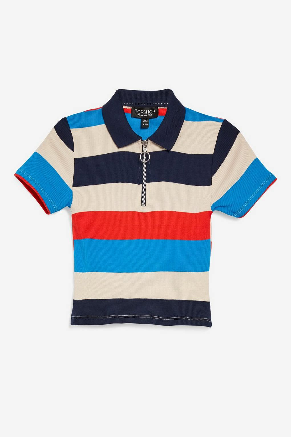 Topshop Striped Polo Top